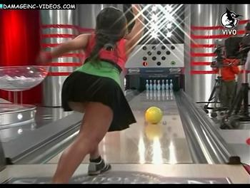 Hot model bowling upskirt